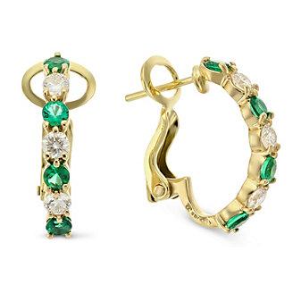 18K Yellow Gold Round Emerald and Round Diamond Half Hoop Earrings