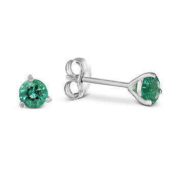 14K White Gold Round Emerald Stud Earrings, 4mm
