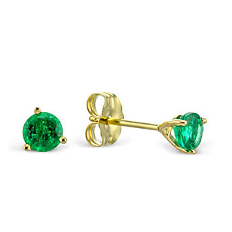 14K Yellow Gold Round Emerald Stud Earrings, 4mm
