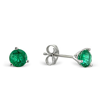 14K White Gold Round Emerald Stud Earrings, 5mm