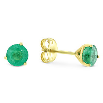 14K Yellow Gold Round Emerald Stud Earrings, 5mm