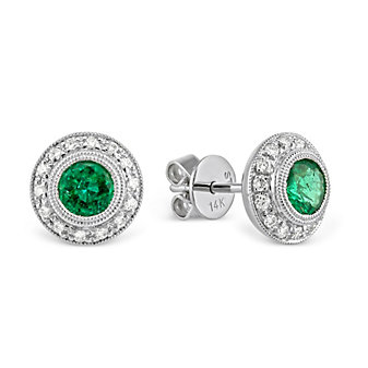 14K White Gold Round Emerald and Round Diamond Bezel Earrings