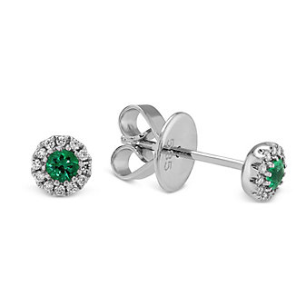 14K White Gold Emerald and Diamond Halo Earrings