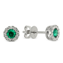 18K_White_Gold_Round_Emerald_and_Round_Diamond_Earrings