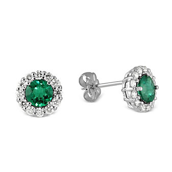 18K White Gold Emerald and Diamond Halo Earrings