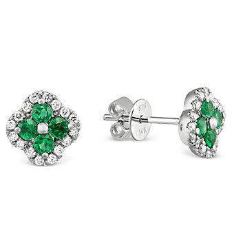 14K White Gold Emerald and Diamond Flower Earrings