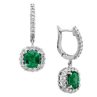 18K White Gold Diamond Halo & Emerald Dangle Earrings
