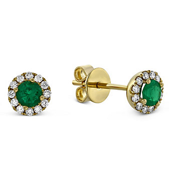 14K Yellow Gold Emerald and Round Diamond Halo Earrings