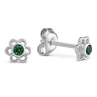 Sterling Silver Child's Synthetic Emerald Flower Earrings