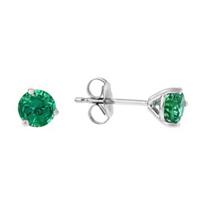 14k_white_gold_round_emerald_stud_earrings