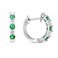14K_White_Gold_Emerald_&_Diamond_Hoop_Earrings,_0.36cttw