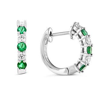 14K White Gold Emerald & Diamond Hoop Earrings, 0.36cttw