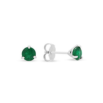 18k white gold emerald stud earrings
