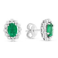 14K_White_Gold_Oval_Emerald_&_Round_Diamond_Earrings