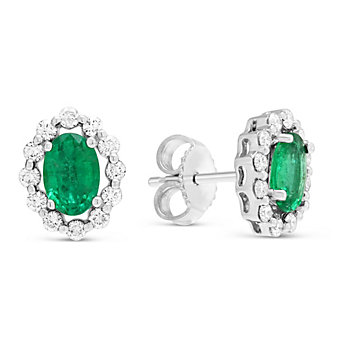 14K White Gold Oval Emerald & Round Diamond Earrings