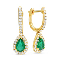 14K_Yellow_Gold_Pear_Shape_Emerald_and_Round_Diamond_Earrings