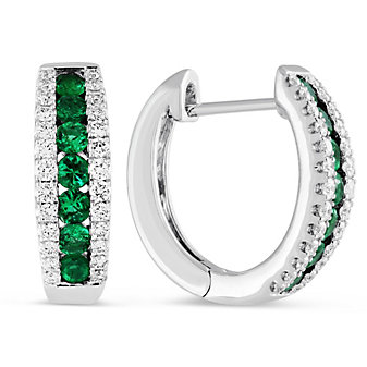 14K White Gold Round Emerald and Round Diamond Hoop Earrings