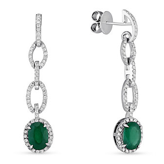 18K White Gold Emerald & Diamond Link Dangle Earrings