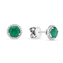 18K_White_Gold_Emerald_&_Diamond_Halo_Earrings_____________