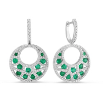 14K_White_Gold_Round_Emerald_and_Diamond_Crescent_Drop_Earrings