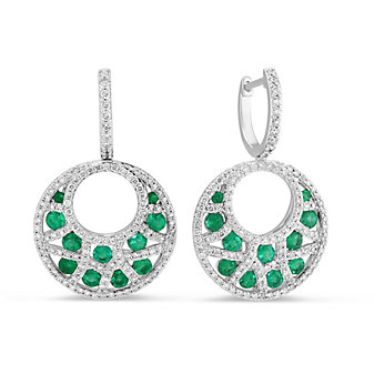 14K White Gold Round Emerald and Diamond Crescent Drop Earrings