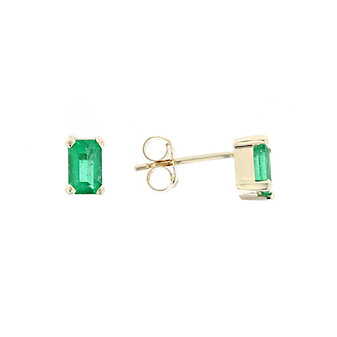 14k yellow gold emerald cut emerald post earrings