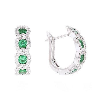 14k white gold emerald & diamond hoop earrings