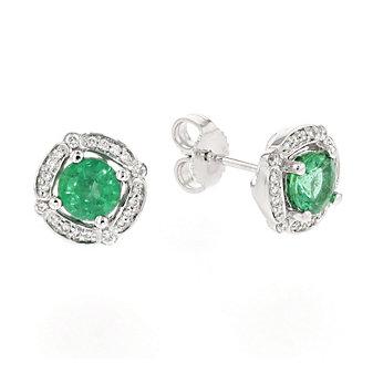 14k white gold emerald & diamond halo stud earrings