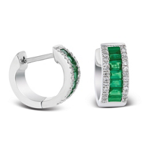 14k_white_gold_diamond_and_emerald_baguette_huggy_hoop_earrings