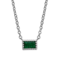 14K_White_Gold_0.07ct_Baguette_Emerald_Necklace,_18""