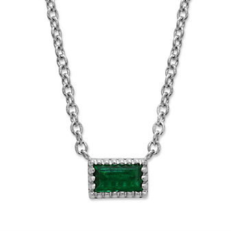 14K White Gold 0.07ct Baguette Emerald Necklace, 18""