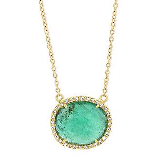 18k yellow gold rosecut emerald & diamond halo necklace