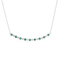 "14k_white_gold_emerald_&_diamond_bezel_curved_bar_necklace,_16"""