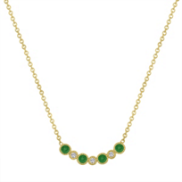14k_yellow_gold_round_emerald_&_diamond_bezel_set_necklace,_16""