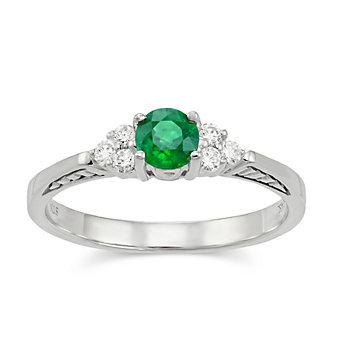 14K White Gold Round Emerald and Round Diamond Ring