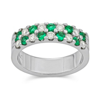 14K_White_Gold_Round_Emerald_and_Round_Diamond_Two_Row_Band