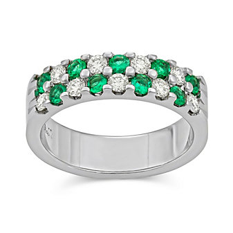 14K White Gold Round Emerald and Round Diamond Two Row Band