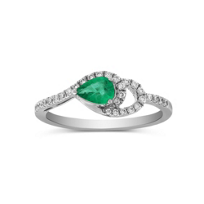 14K_White_Gold_Pear_Shape_Emerald_and_Round_Diamond_Ring