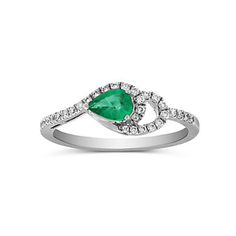 14K White Gold Pear Shape Emerald and Round Diamond Ring