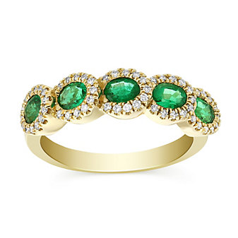 14K Yellow Gold Oval Emerald and Round Diamond Ring