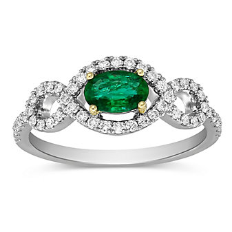 14K White Gold Oval Emerald and Round Diamond Ring