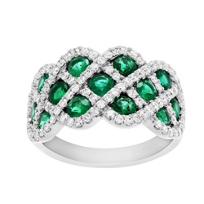 14K_White_Gold_Round_Emerald_and_Round_Diamond_Criss_Cross_Ring