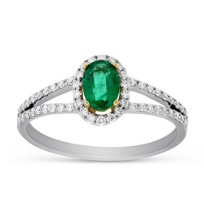 14K_Yellow_&_White_Gold_Oval_Emerald_and_Round_Diamond_Halo_Ring