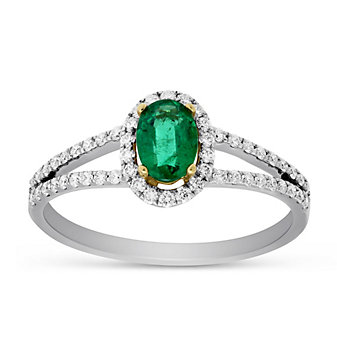 14K Yellow & White Gold Oval Emerald and Round Diamond Halo Ring