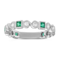 14K_White_Gold_Princess_Cut_Emerald_and_Round_Diamond_Ring