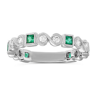 14K White Gold Princess Cut Emerald and Round Diamond Ring