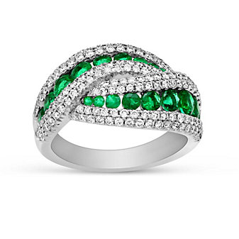 14K White Gold Emerald and Diamond Crossover Ring