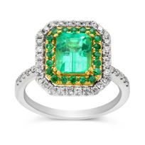 18K_Yellow_&_White_Gold_Emerald_Cut_Emerald_and_Round_Diamond_Double_Halo_Ring