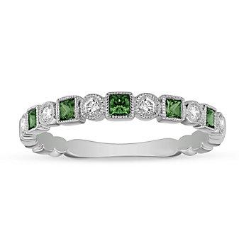 14K White Gold Emerald and Diamond Milgrain Geometric Ring