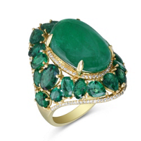 18K_Yellow_Gold_Multi_Shape_Emerald_and_Diamond_Ring